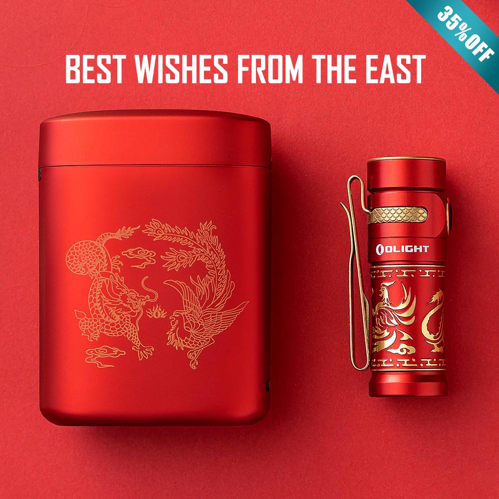 Olight New Baton 3 Premium Edition Dragon and Phoenix Pocket Flashlight
