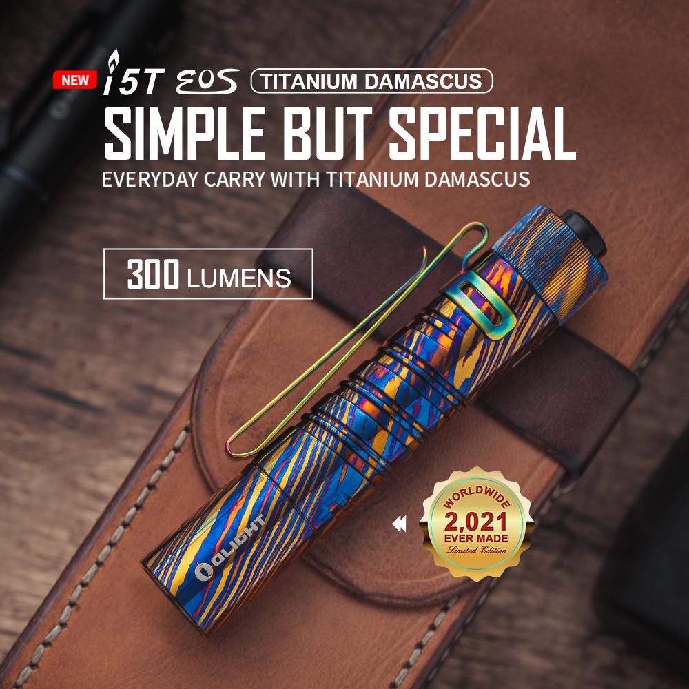Olight Titanium Damascus i5T Mini Waterproof Tail Switch Torch