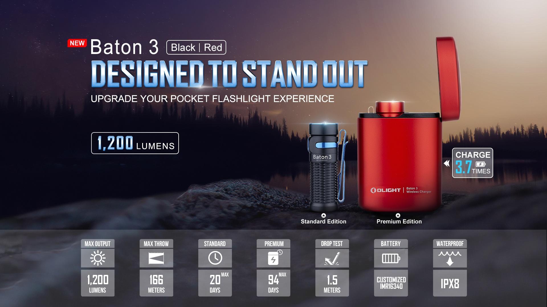 baton 3 red flashlight